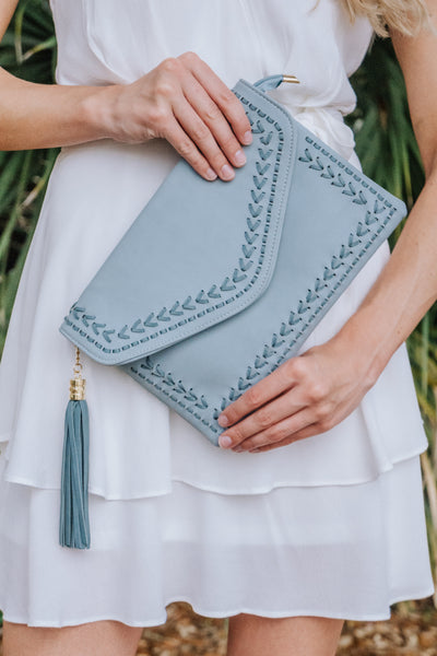 Cross Stitch Sea Foam Clutch