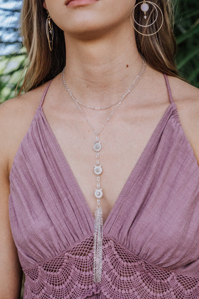 Tri-Circle Layered Tassel Necklace