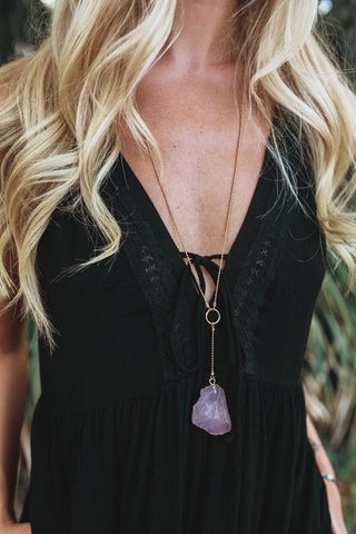 Lariat Stone Necklace (Multiple Colors)