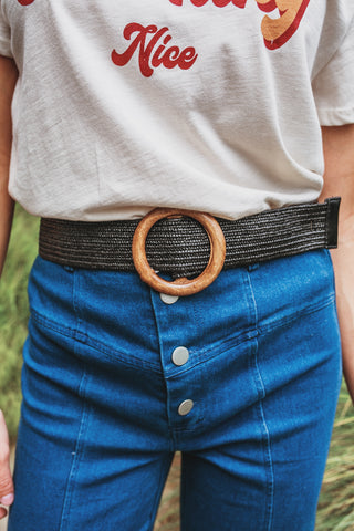 Wooden Hoop Braided Belt
