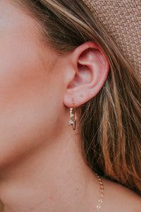 Diamond Stud Hoop Earrings