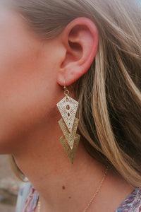 Layered Cut Out Triangle Earrings