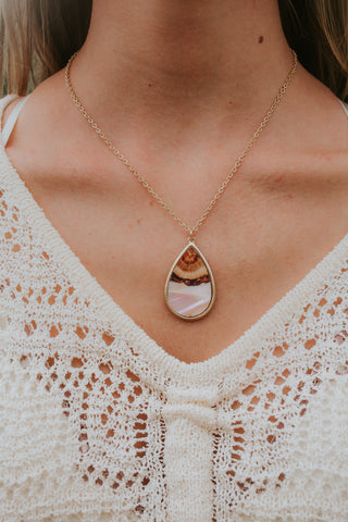 Abalone Teardrop Necklace (Multiple Colors)