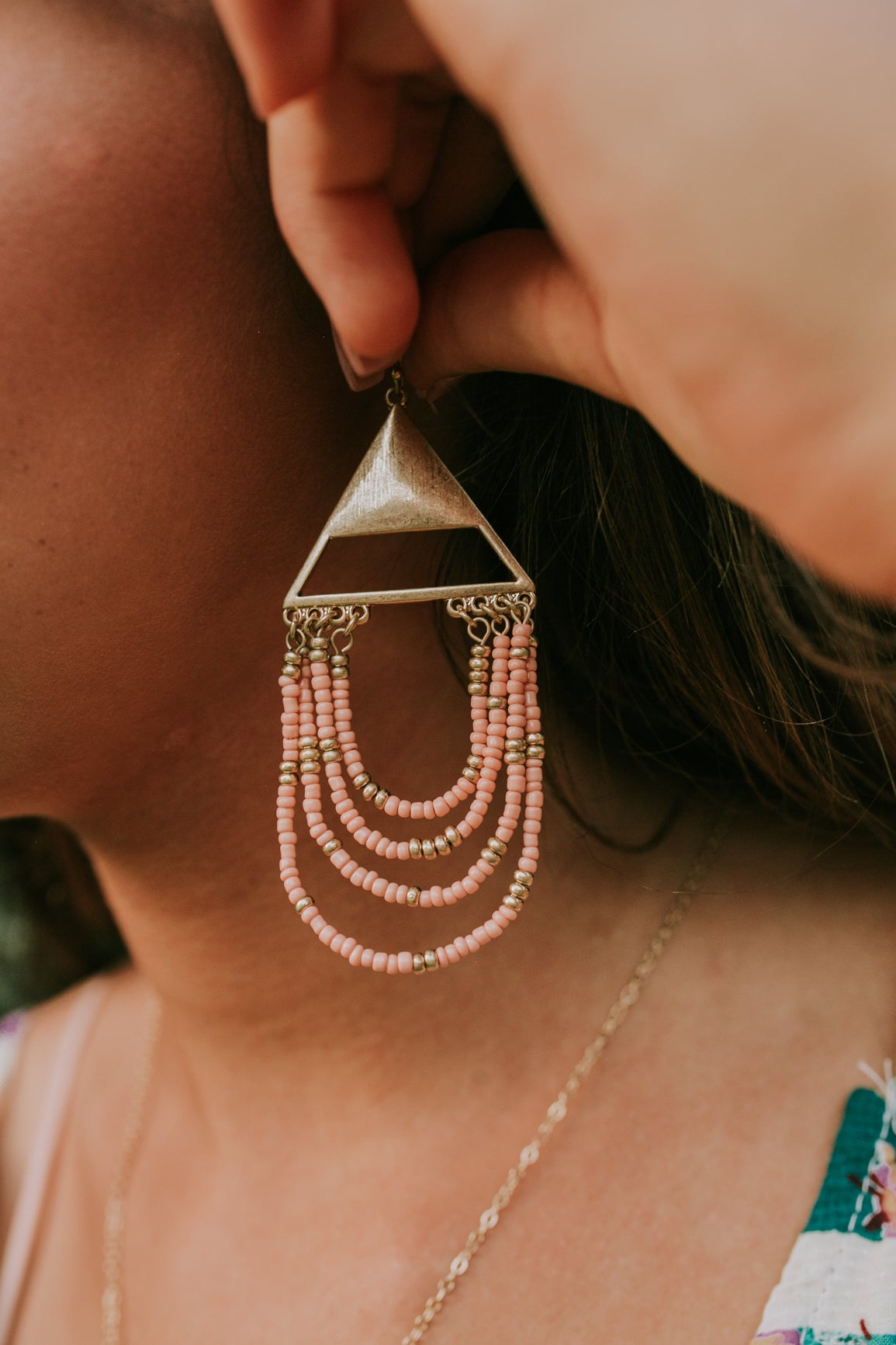 Triangle & Beaded Earrings