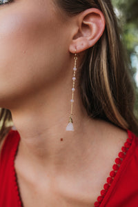 Traingle Beaded Drop Earrings