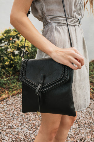 Braided Side Flap Crossbody