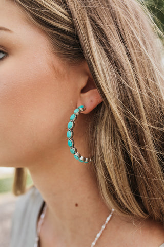 Western Turquoise Hoop Earrings
