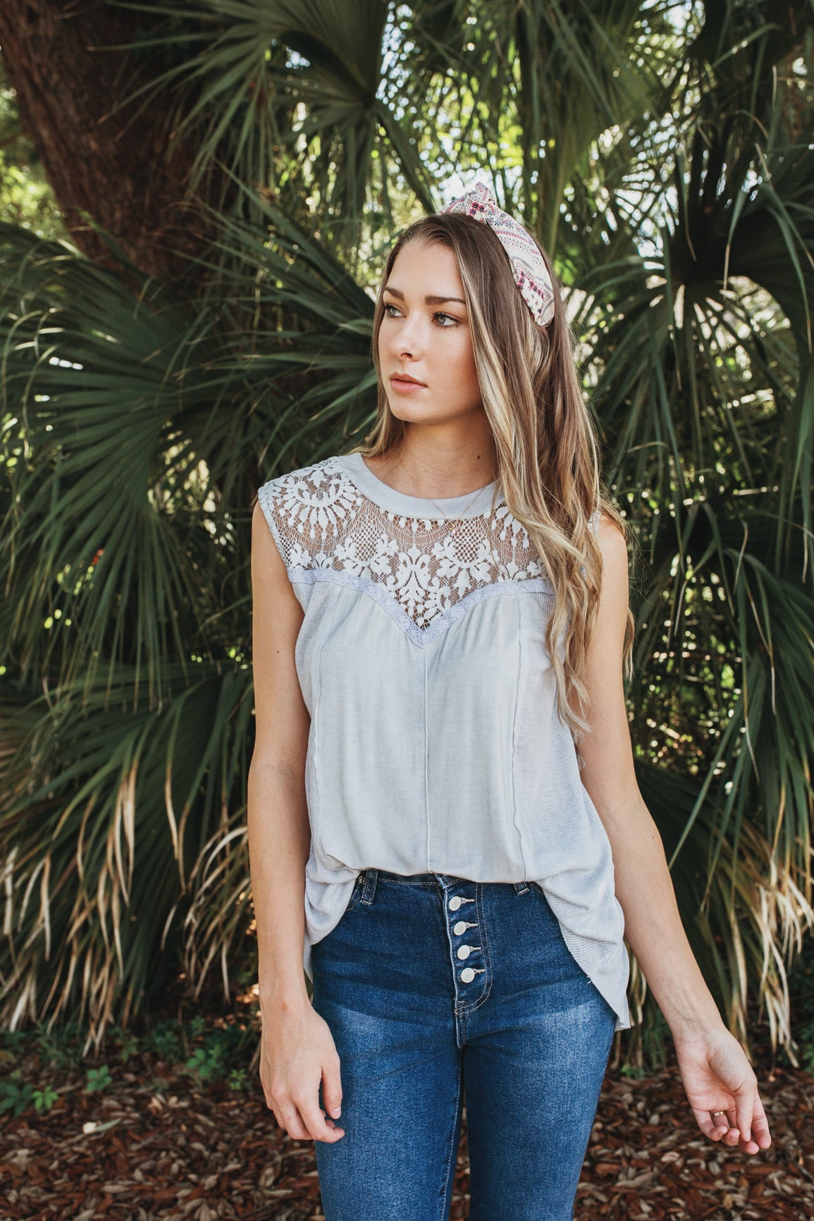 Contrast Lace Tank