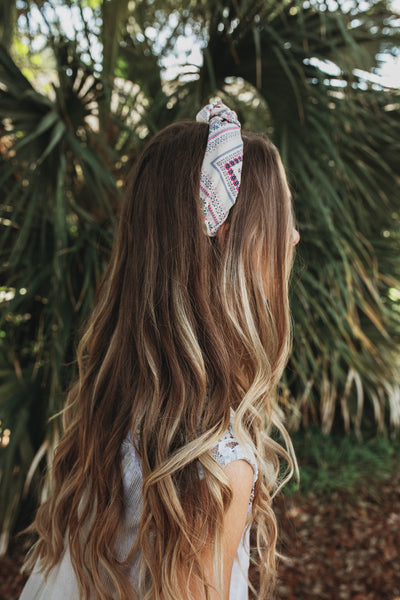 Cream Patterned Headband