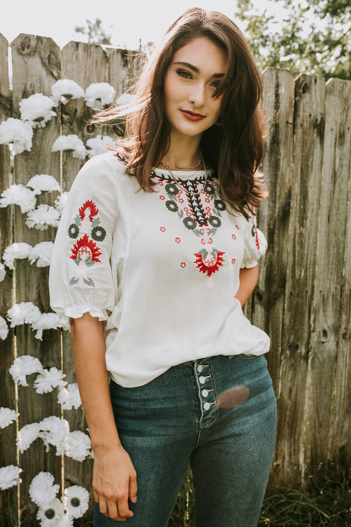 Talsi Embroidered Top