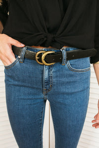Black and Gold Double Ring Belt
