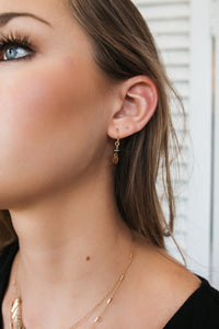 Stone and Disc Earrings