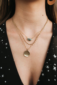 Wedge Stone & Disc Necklace