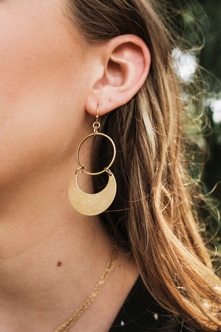 Circle Crescent Earring