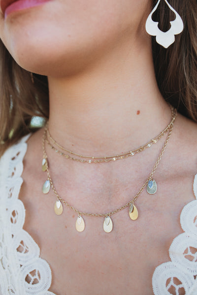 Teardrop and Disc Layered Choker (Multiple Colors)