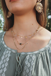 Stone & Disc Layered Choker