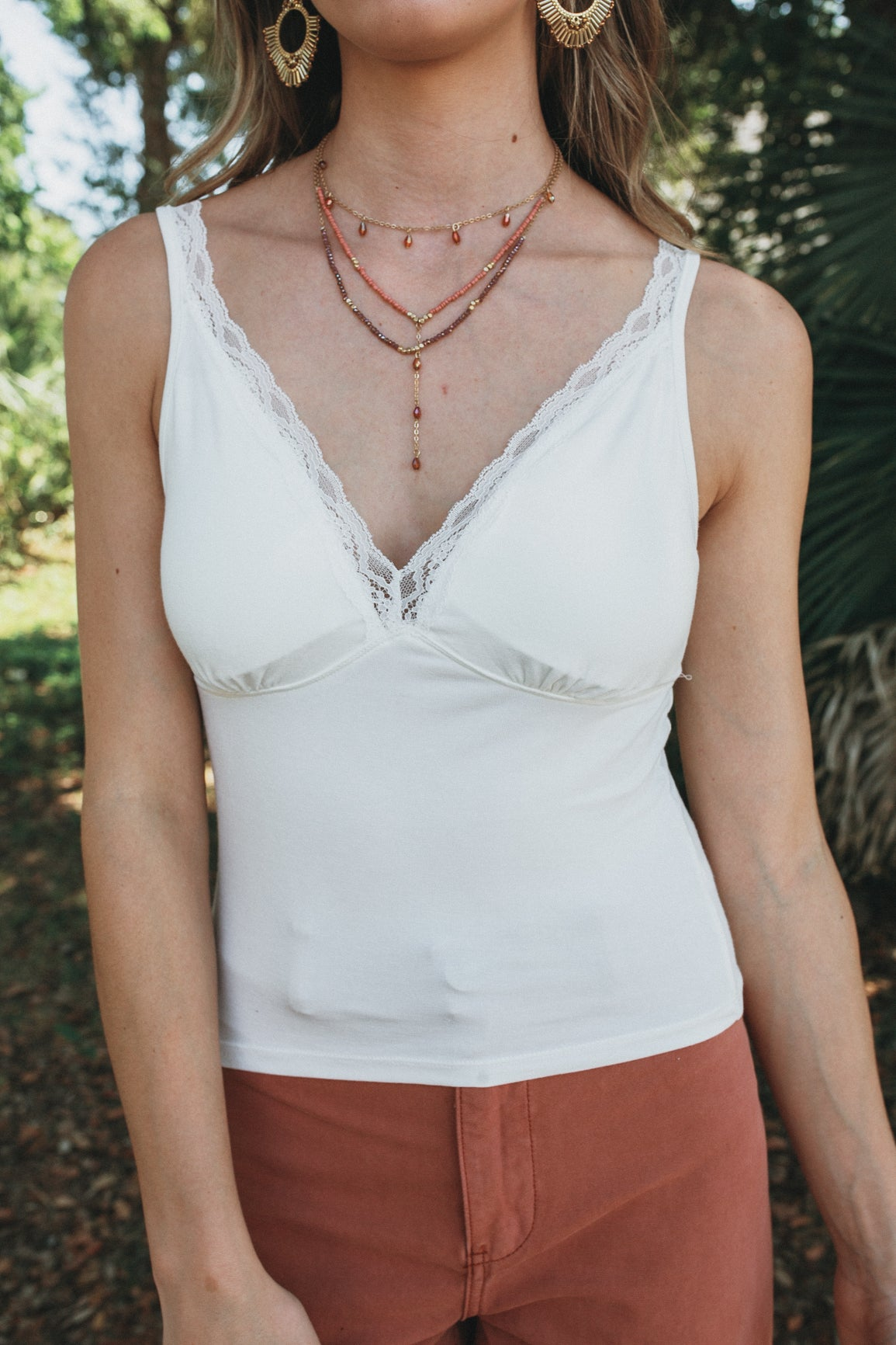 V Neck Lace Padded Cami (Multiple Colors)