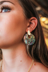 Round Abalone Shell Earrings