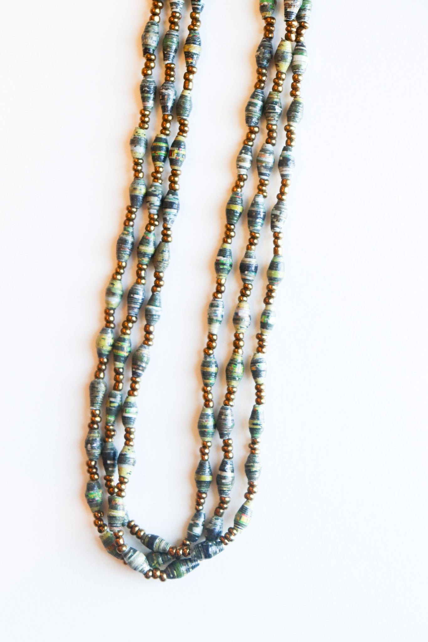 3 Layer Green Beaded Magazine Necklace