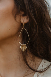 Gold Teardrop Charm Earrings