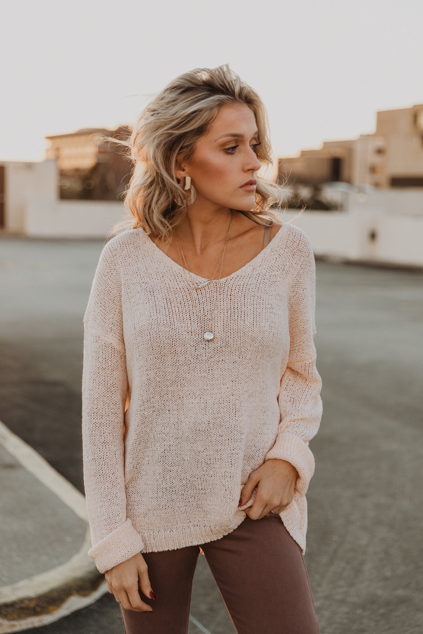 Anchorage Peach Knit Sweater