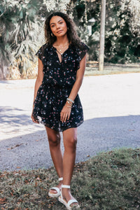 Ankara Black Floral Dress