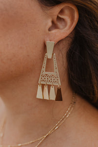 Gold Aztec Fringe Earrings