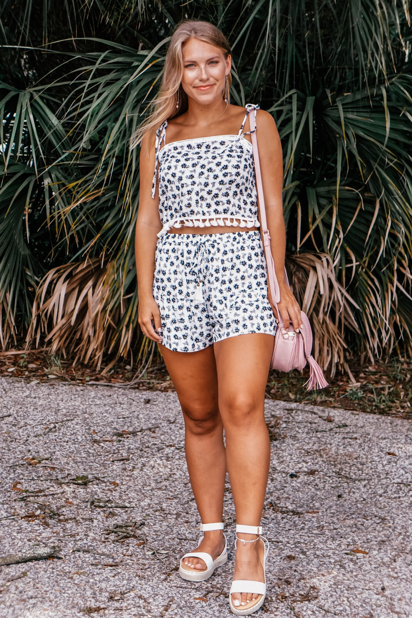 Barstow Black & White Floral Shorts