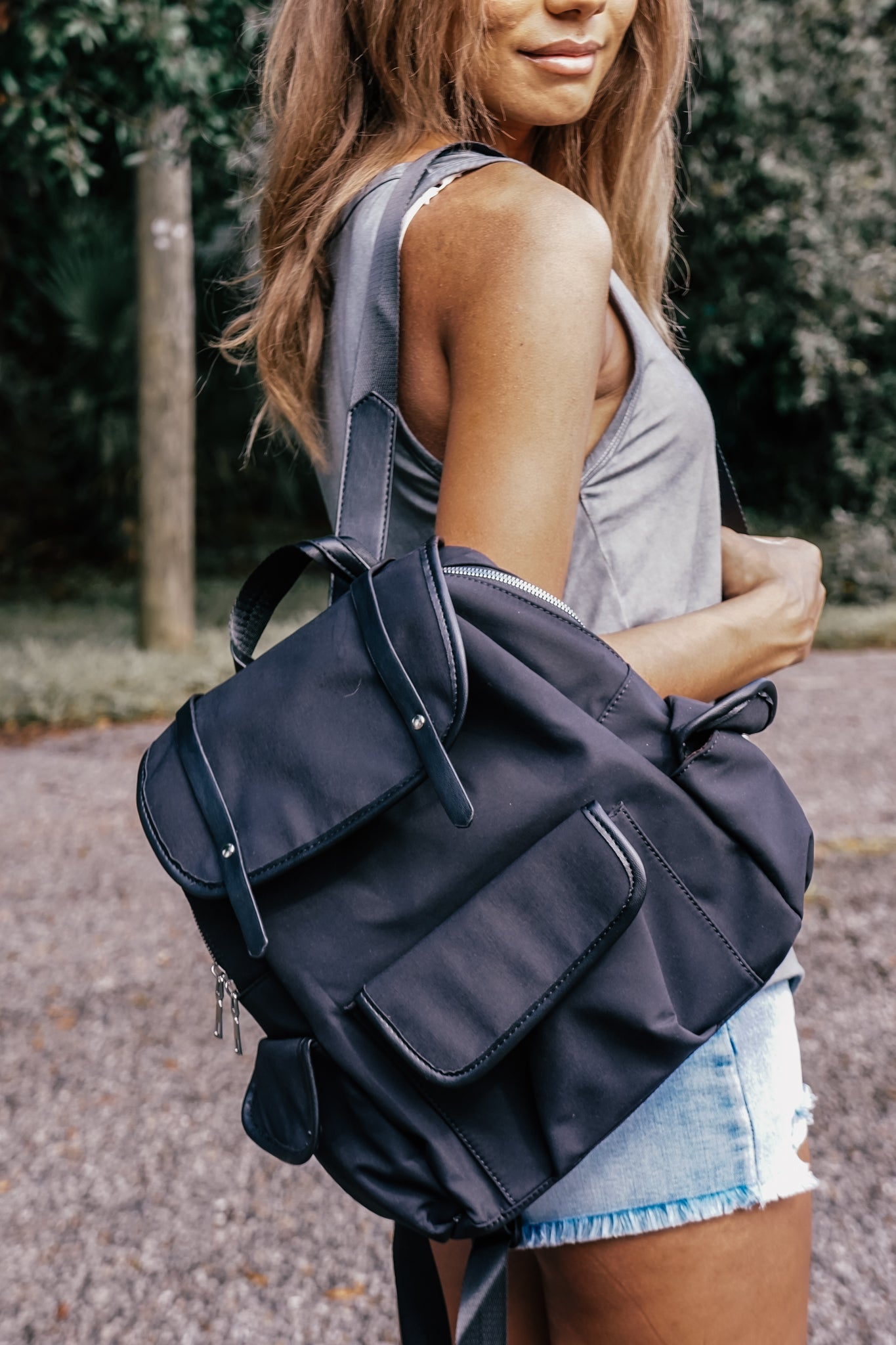 Black Nylon Cargo Backpack