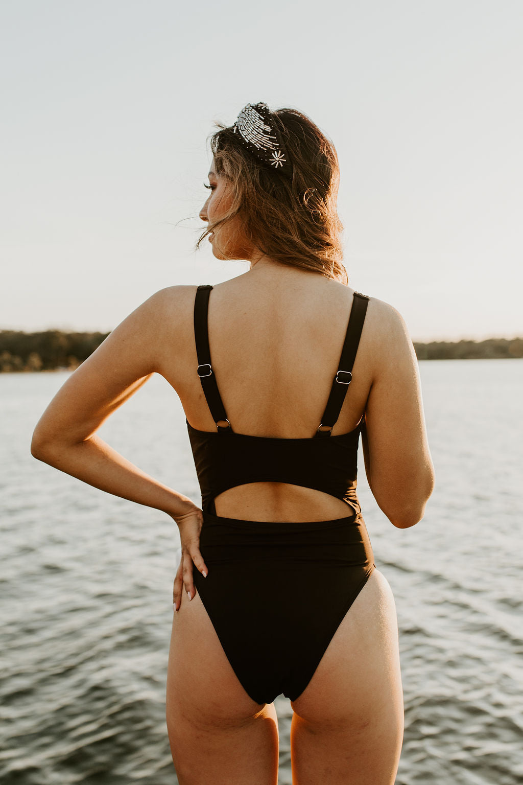Black Tie & Cut-Out One Piece Swimsuit