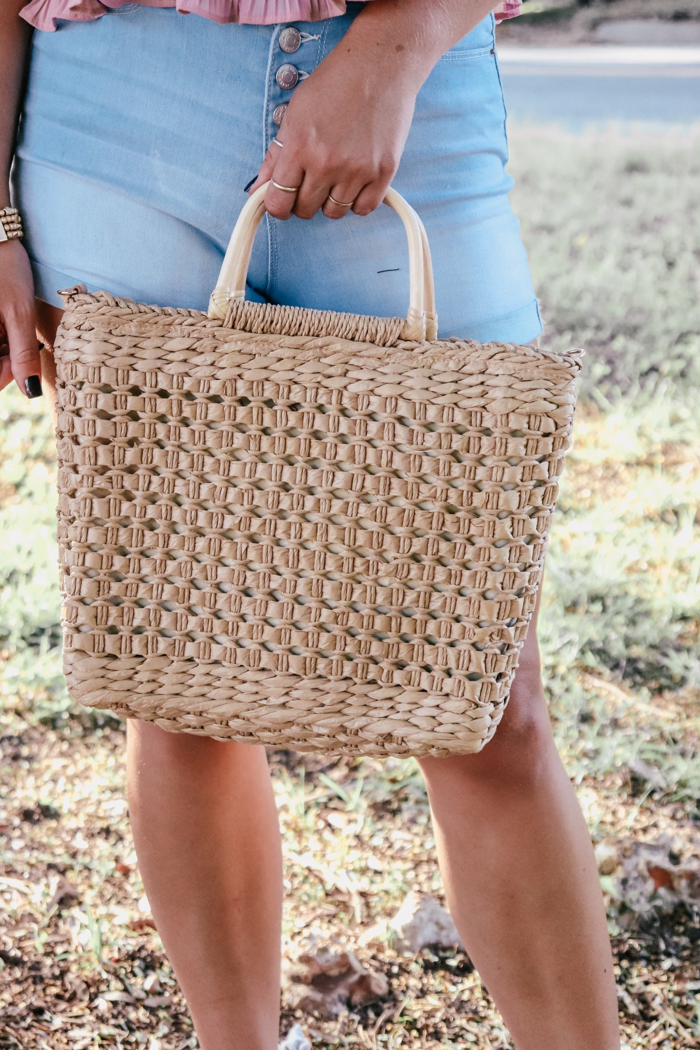 Natural Straw Satchel (Multiple Colors)