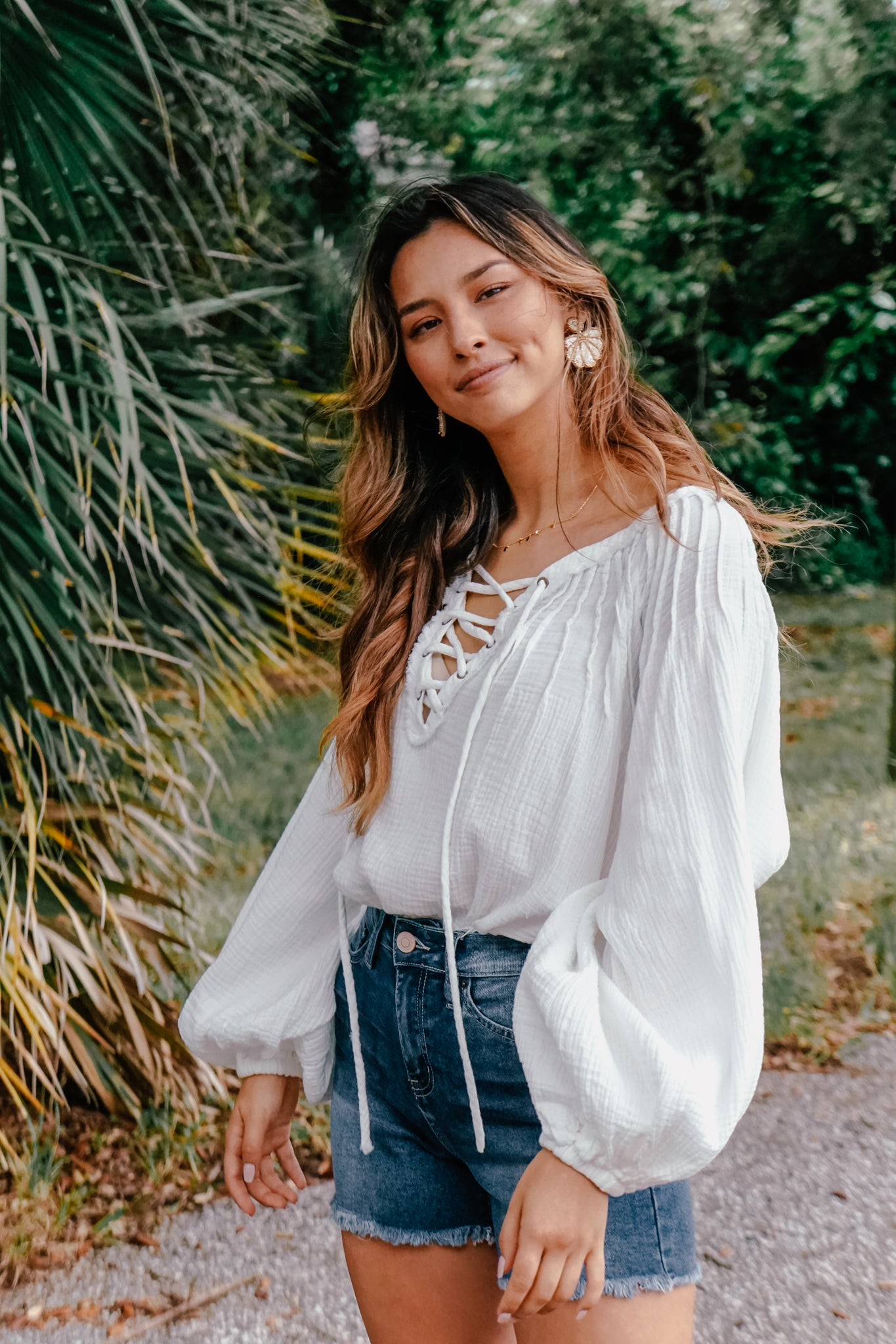 Caribbean Lace-Up White Top