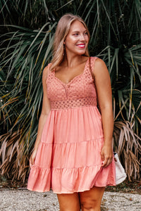 Concord Crochet Peach Dress