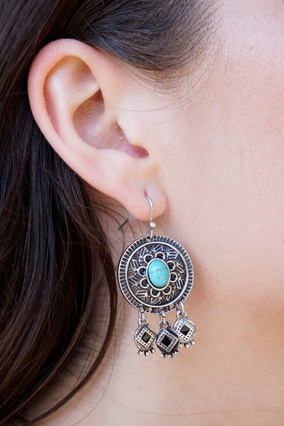 Mayan Silver Turquoise Earrings