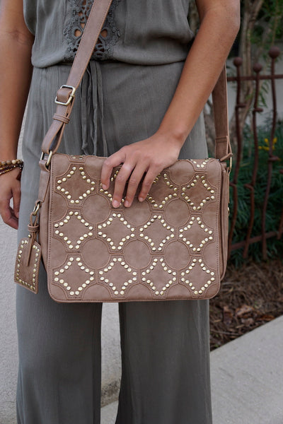 Gold Stud Messenger Bag
