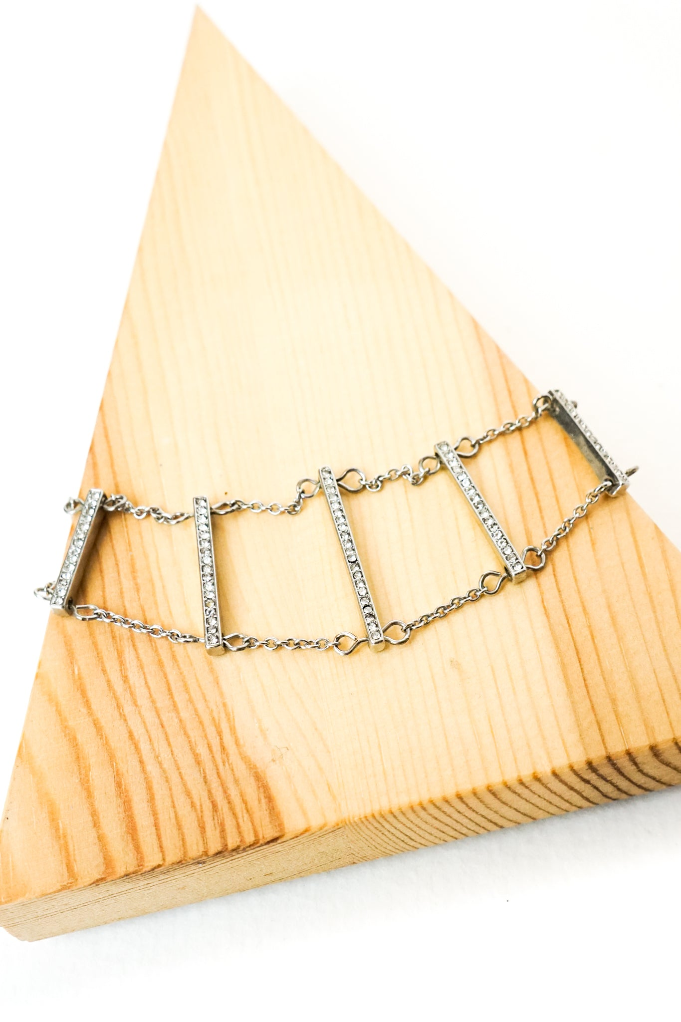 Silver Diamond & Bar Choker