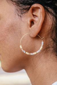 Dainty Beaded Hoop Earring