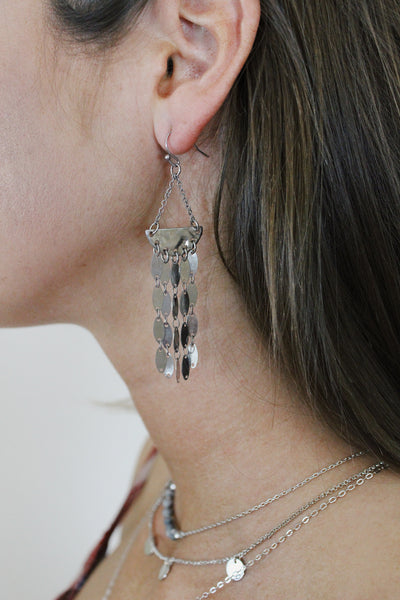 Silver Oval Tassel Earrings