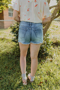 Exposed Medium Wash Button Shorts