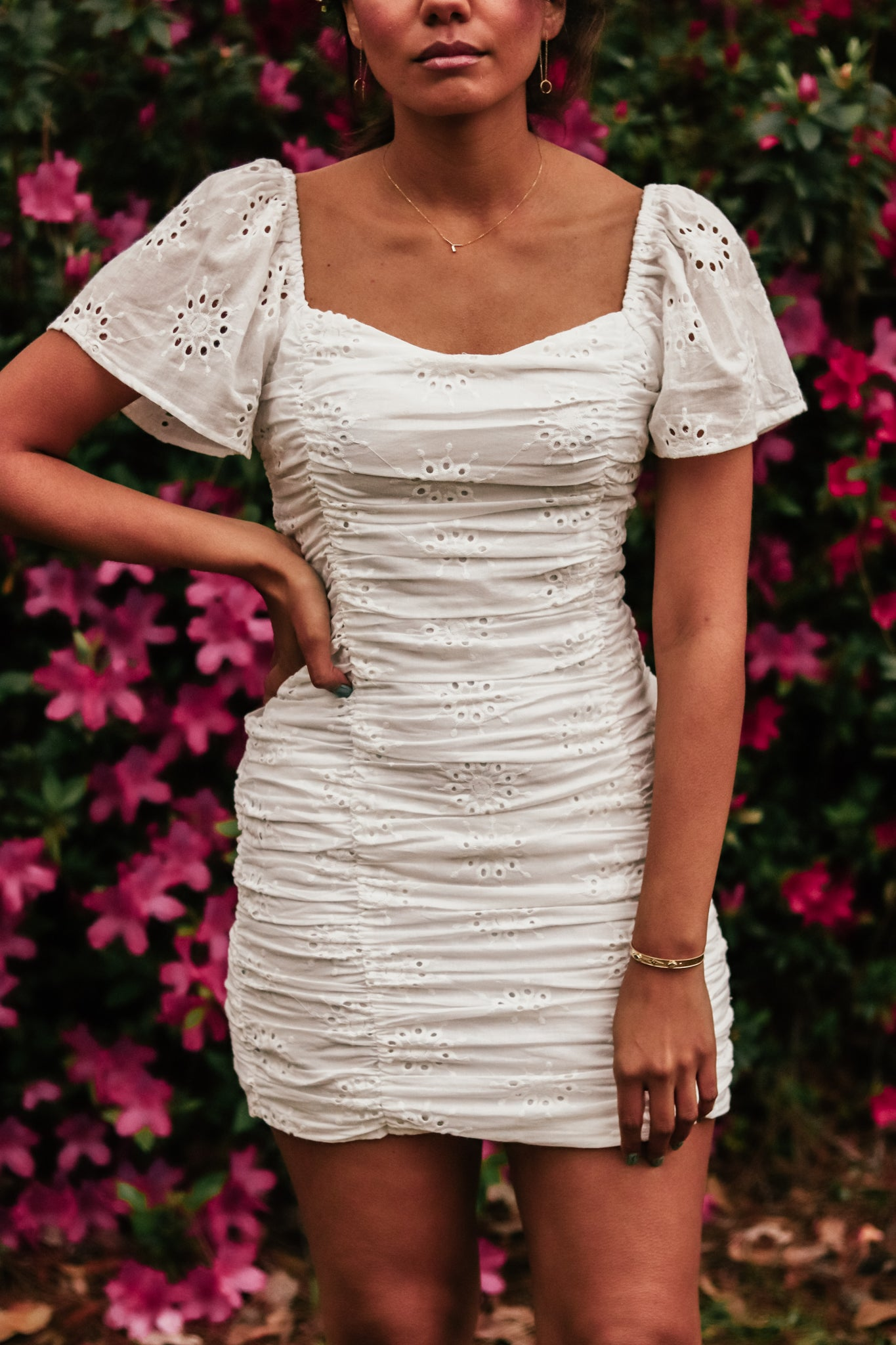Fay Eyelet White Dress