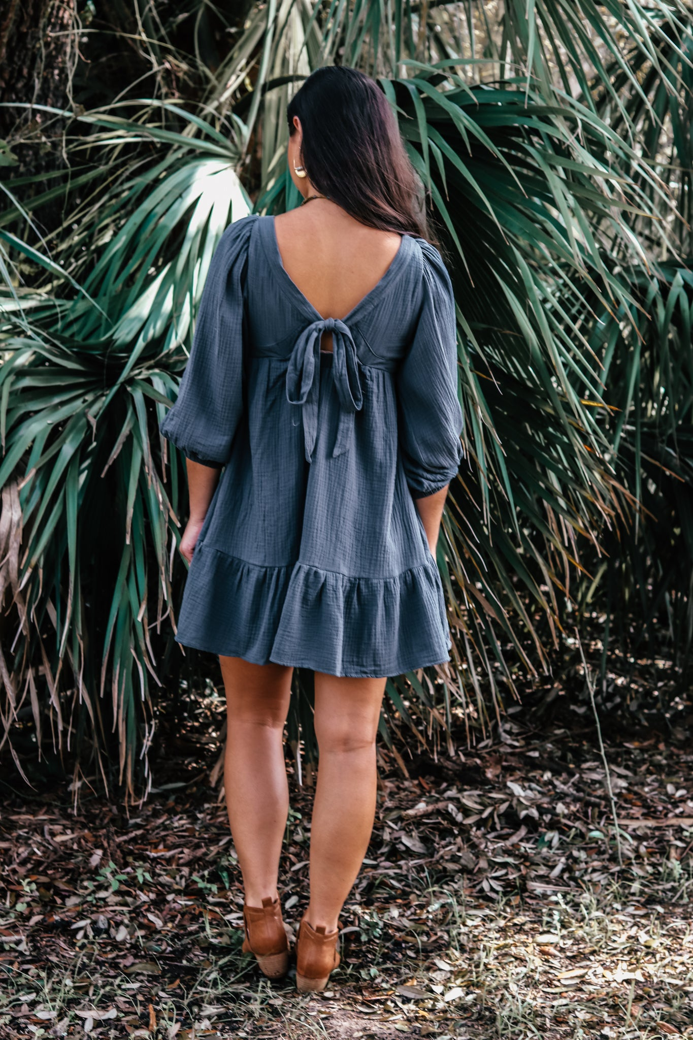 Gauzy Navy/Teal Babydoll Dress