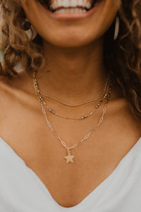 Gold 3 Layered Star Necklace