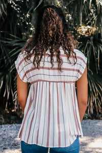 Gretna Striped Cream Top