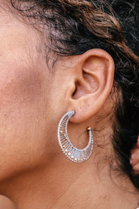 Grey Threaded Crescent Earrings