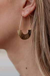 Hammered Half Circle Gold Earring