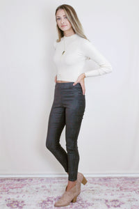 Suede Zip Leggings (Multiple Colors)
