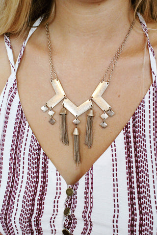 Three Chevron Tassel Necklace