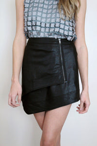 Asymmetrical Leather Skirt