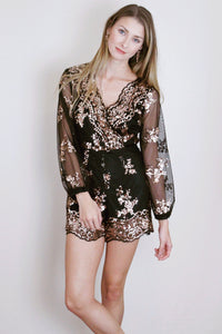 Scallop Sequin Romper