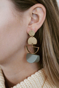 Geometric Wood Wedge Earrings